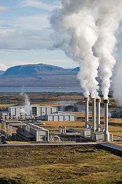 In some parts of Iceland, hot water runs from geothermal power plants ...