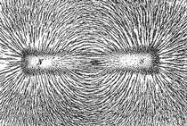 Magnetic field represented by iron filings
