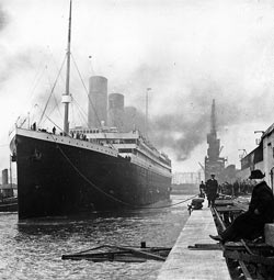 Titanic at the docks in Southampton