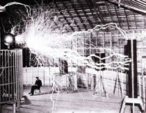 Tesla performing experiments in his Colorado lab