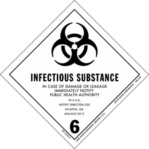 This picture is a biohazard infectious substance warning sign that states that in case of damage or leakage people should immediately notify a public health authority.