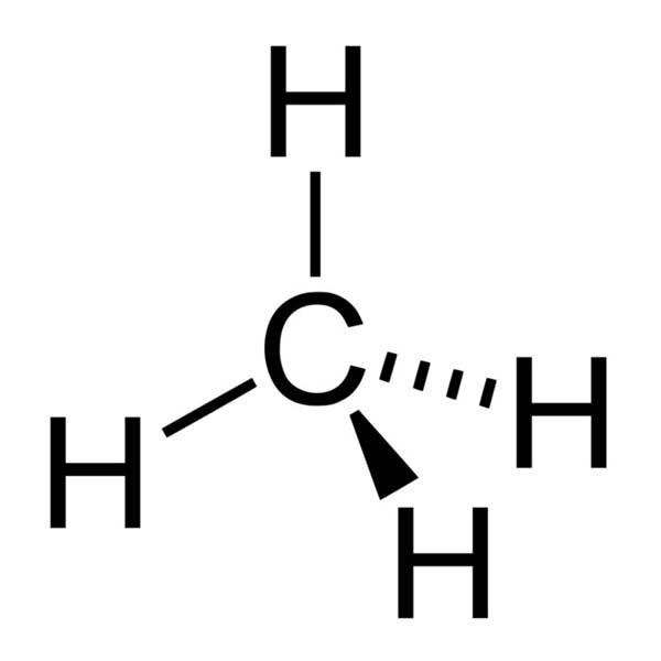 This diagram shows the chemical structure of methane. A methane molecule contains one carbon atom and four hydrogen atoms.