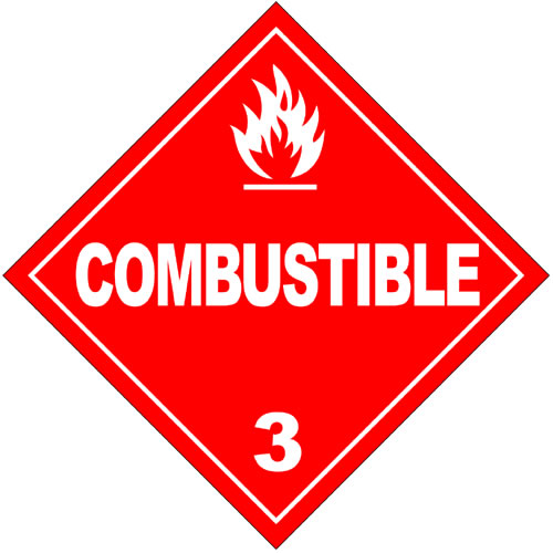 A commonly used hazardous materials sign which alerts those nearby of the existence of potentially combustible materials. The sign is in red with white writing and graphics.