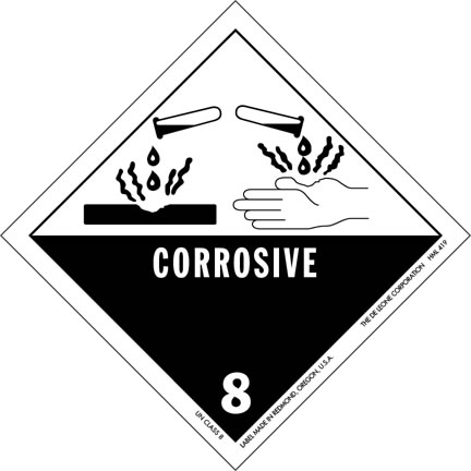 This hazardous materials sign clearly warns those in the area that there are corrosive substances nearby that could inflict serious injuries. The graphic shows the corrosive material not only burning a hand but also going through other solid objects, magnifying the awareness of how dangerous it can be.
