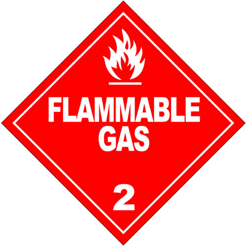 This is a hazardous materials sign warning of flammable gas in the area. It has writing in large capital letters and a white graphic showing the flames that could possibly ensue if appropriate caution is not adhered to.