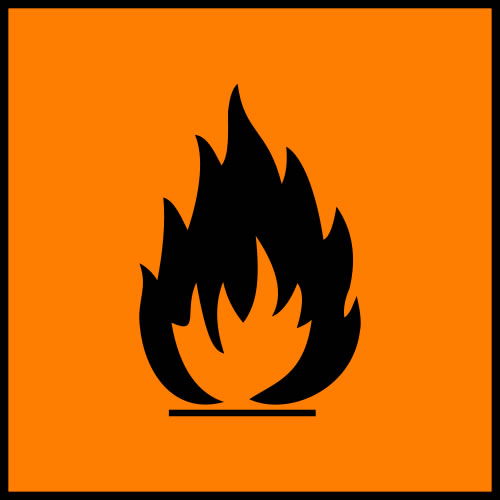 This orange and black picture is used to bring clear attention to the highly flammable materials in the area. The graphic in the middle shows a large flame.
