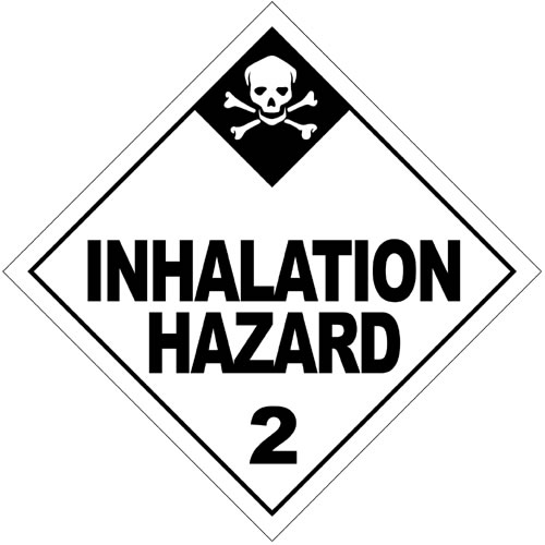 This hazardous substances sign warns against a potentially dangerous inhalation hazard. The words are in large black writing while there is a white skull and cross bones in the top corner.