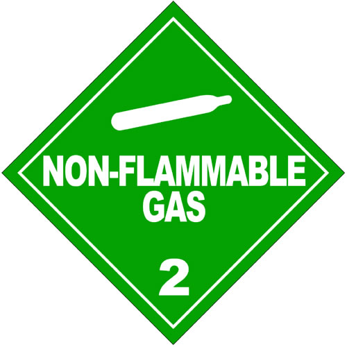 This sign warns against nonflammable but still potentially dangerous gas. It has white writing and a white graphic set against a green background.