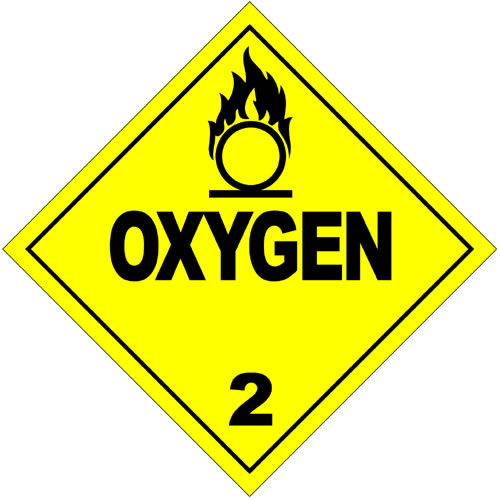 This hazardous materials sign is to warn of potentially dangerous oxygen in the area.