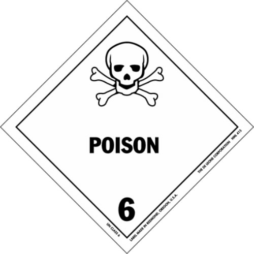 This hazardous materials sign warns against poisonous substances. The word poison is written in large black letters while the always intimidating skull and cross bones image can be seen above.