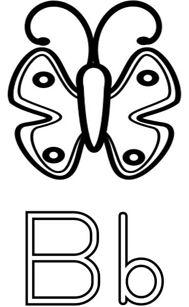 This coloring page for kids features the letter B and a butterfly.