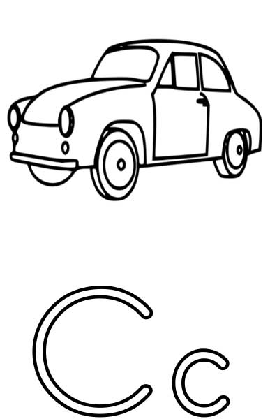 this coloring page for kids features the letter c and a car - C Coloring Sheet