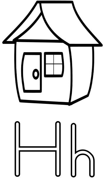 this coloring page for kids features the letter h and a house
