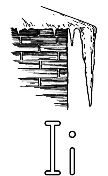This coloring page for kids features the letter I and an icicle forming off the edge of a roof.