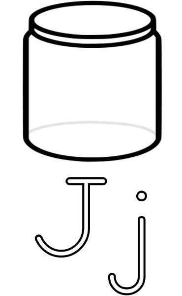 This coloring page for kids features the letter J and a jar.