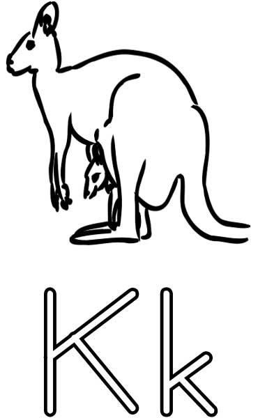 k for kangaroo coloring pages - photo#24