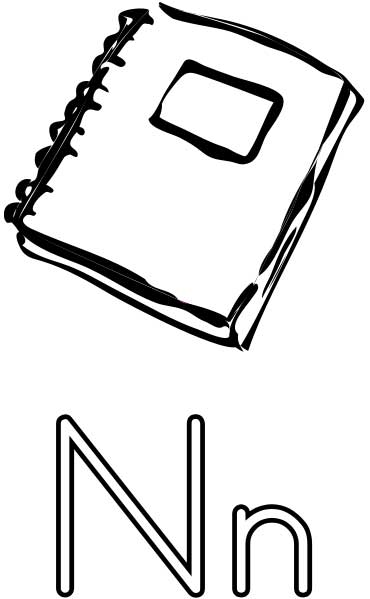 This Coloring Page For Kids Features The Letter N And A Notebook