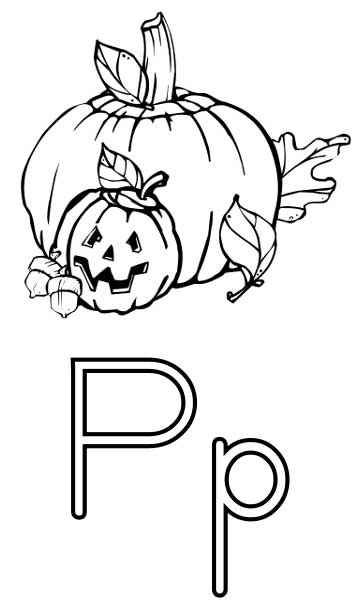 this coloring page for kids features the letter p and a pumpkin