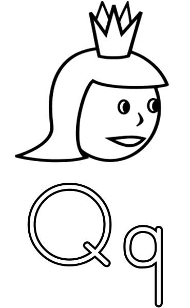 This coloring page for kids features the letter Q and a queen.