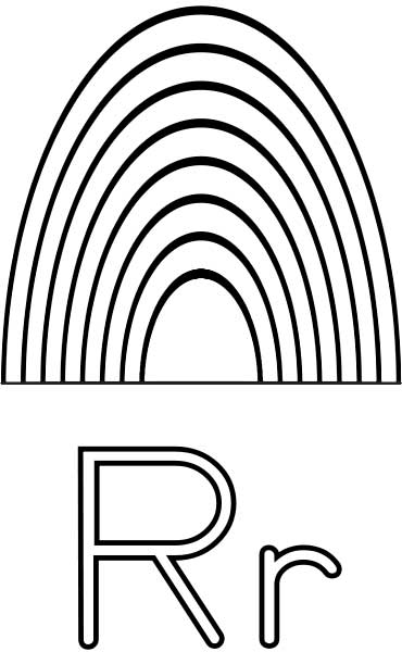 this coloring page for kids features the letter r and a rainbow