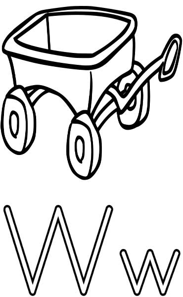 This coloring page for kids features the letter W and a wagon.