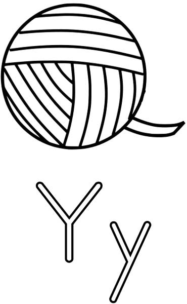 This coloring page for kids features the letter Y and a ball of yarn.
