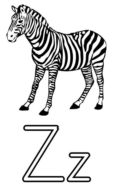 Letter Z Zebra Coloring Pages