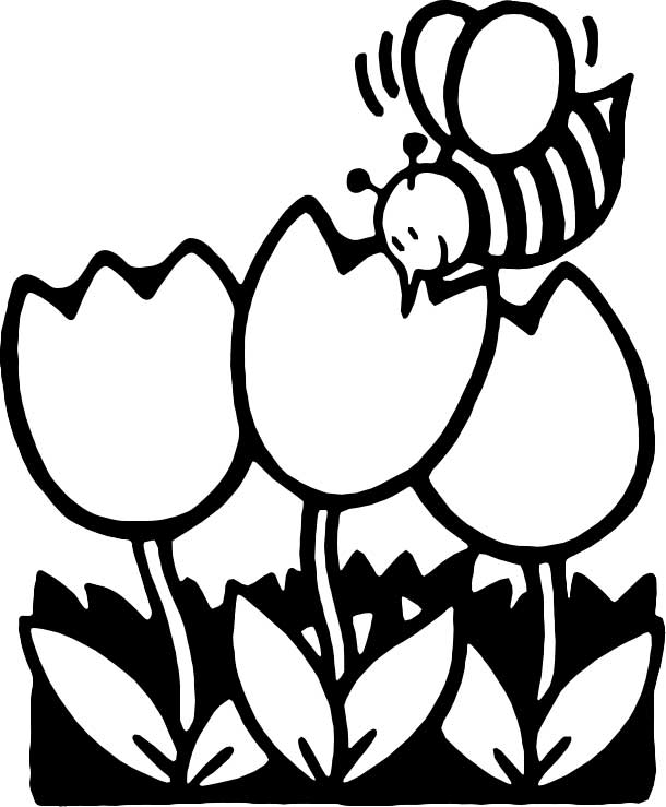 This Coloring Page For Kids Features A Bee Collecting Honey While It Pollinates Flowers