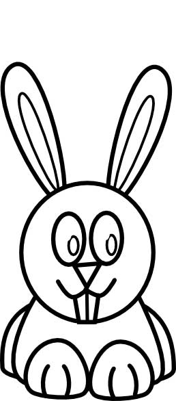 This coloring page for kids features a front on picture of a cute bunny rabbit with large ears and long front teeth.