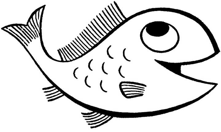 this coloring page for kids features a happy looking cartoon fish with big eyes and a - Printable Fish Pictures