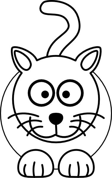 This coloring page for kids features a front on picture of a cute cat with whiskers and a long tail.