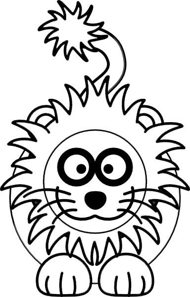 This Coloring Page For Kids Features A Front On Picture Of Cute Lion With