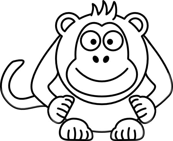 This coloring page for kids features a front on picture of a cute monkey with a long tail and a big smile.