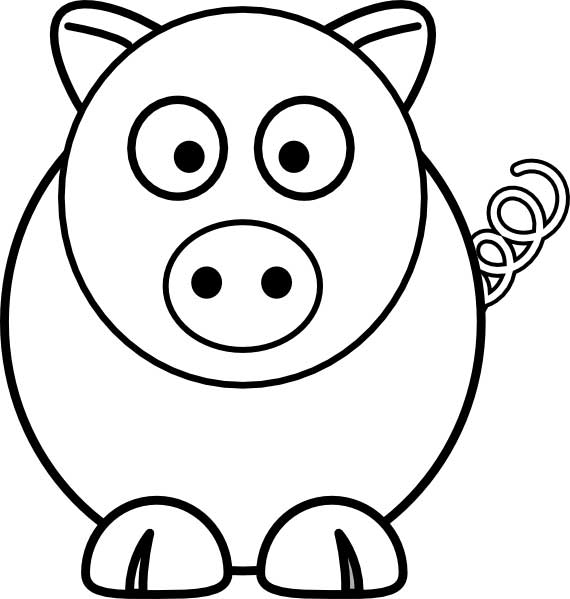 This coloring page for kids features a front on picture of a cute pig with a curly tail and a round snout.