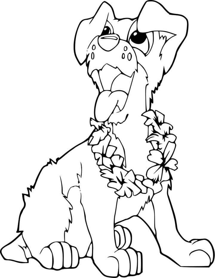 This coloring page for kids features a cute puppy with floppy ears