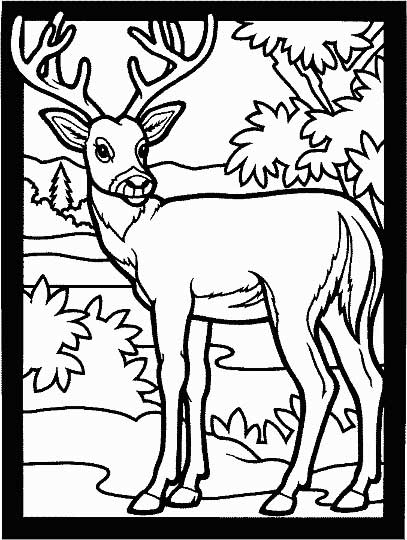 This coloring page for kids features a deer with large antlers turning ...