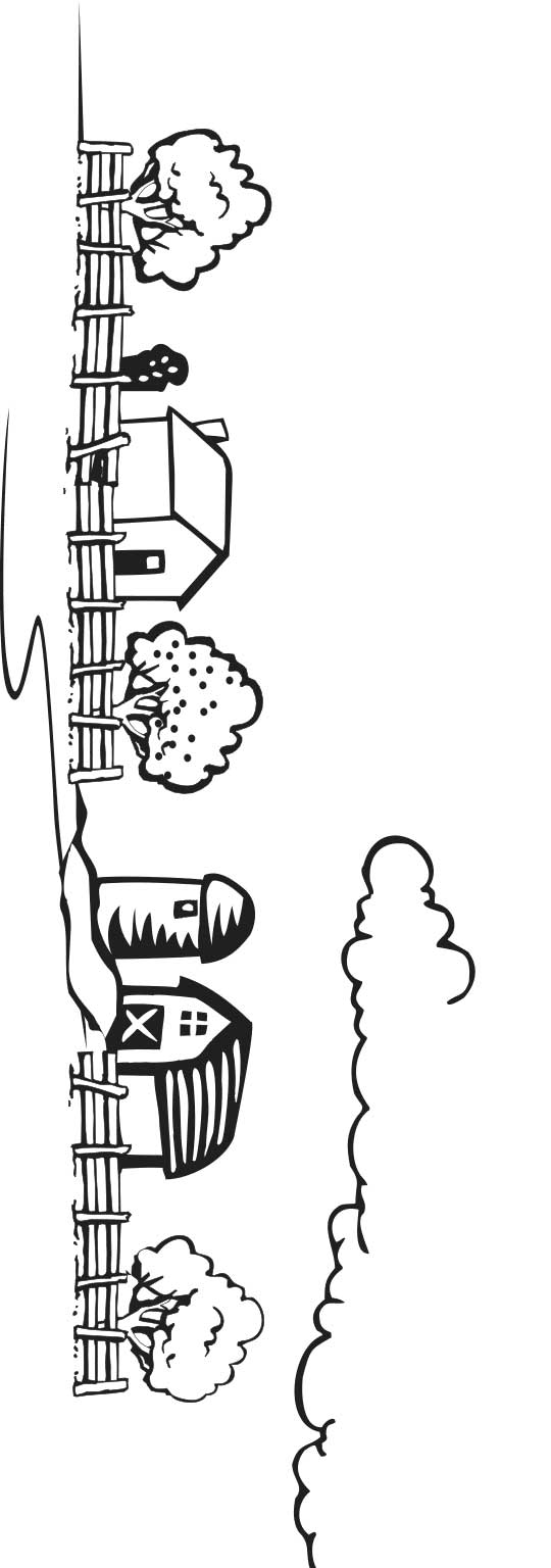 This coloring page for kids features a farm, barnyard and trees. A fence lines the front of the farm while clouds can be seen at the top of the picture.