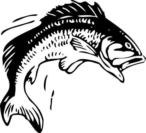 This coloring page for kids features a fish with its mouth wide open as it jumps out of the water.