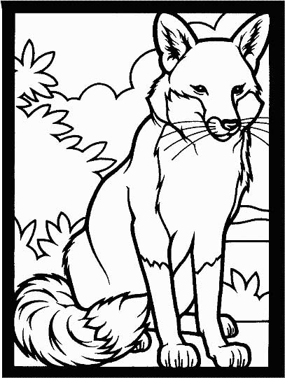 This coloring page for kids features a fox with large ears and a big, bushy tail.