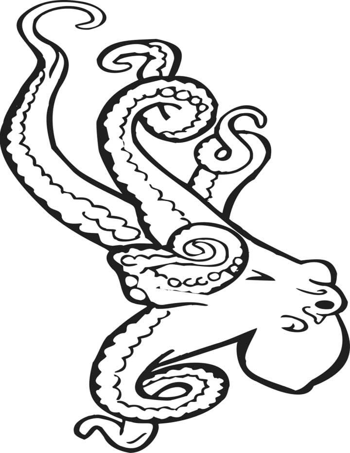 This Coloring Page For Kids Features A Large Octopus With Long Tentacles.