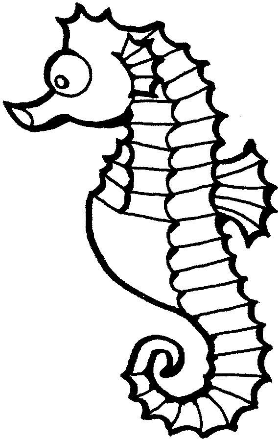 This coloring page for kids features a cute seahorse with big eyes and a curly tail.