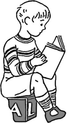 Have fun coloring in this simple picture that features a boy reading a book.
