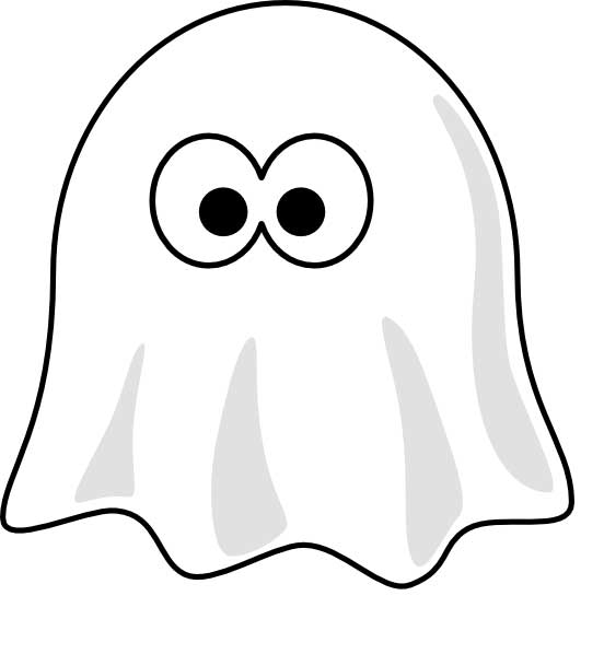 This coloring page for kids features a cartoon ghost with large eyes that is covered by a white sheet.