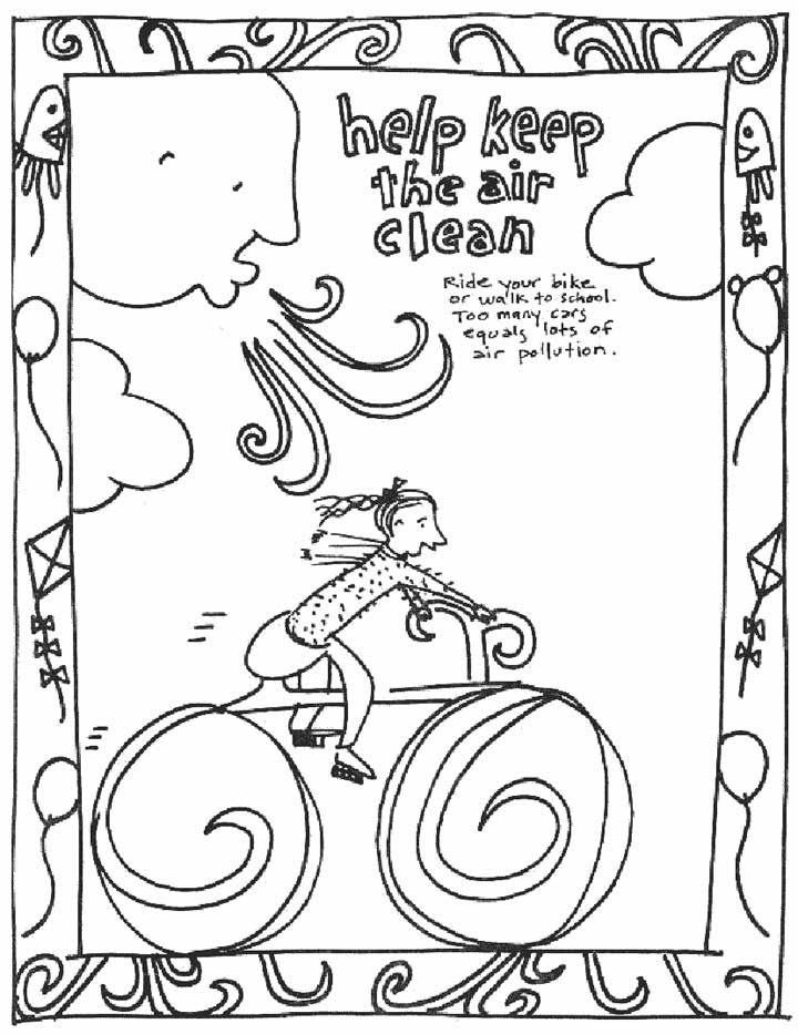 This coloring page for kids focuses on keeping the air clean by riding bikes rather than riding in cars.