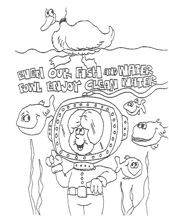 This coloring page for kids focuses on keeping water clean for the sake of fish and water fowl.