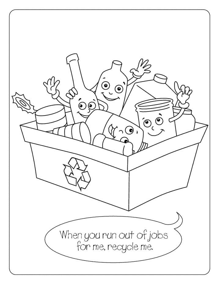 this coloring page for kids features a recycling bin full of cans bottles glass