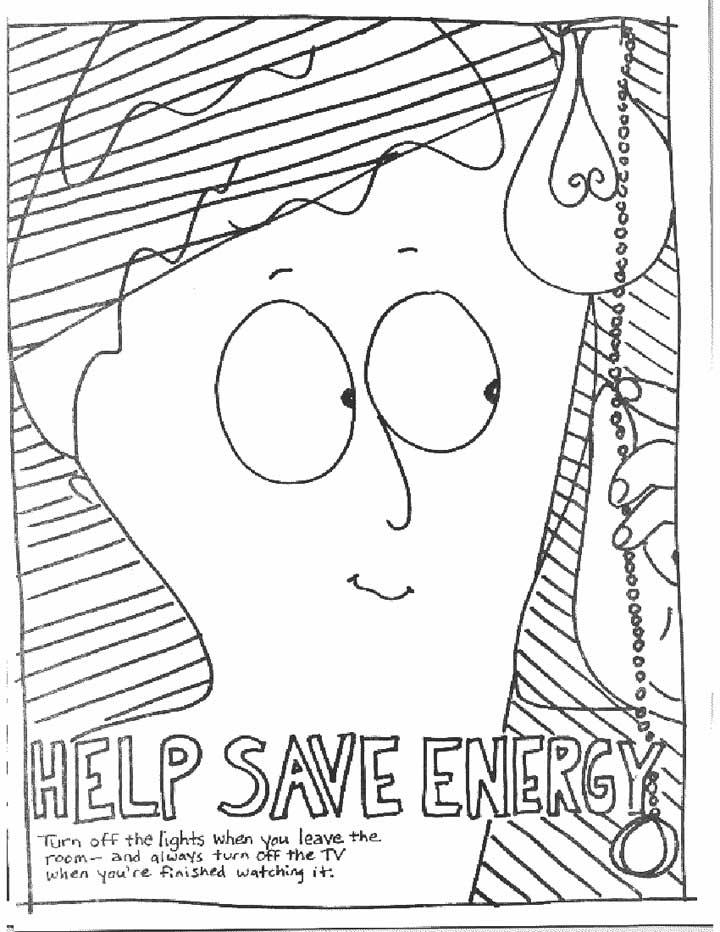 This coloring page for kids focuses on saving energy by turning off lights when you leave the room and remembering to turn off the tv when you've finished watching it.