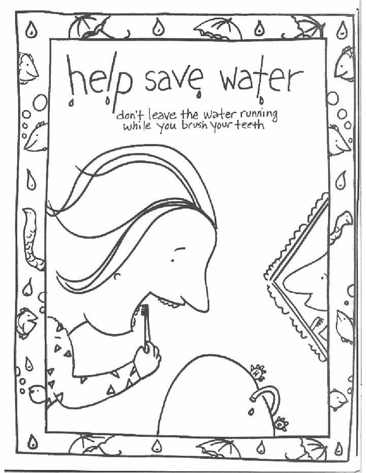 This coloring page for kids focuses on saving water by turning the tap off while you brush your teeth.