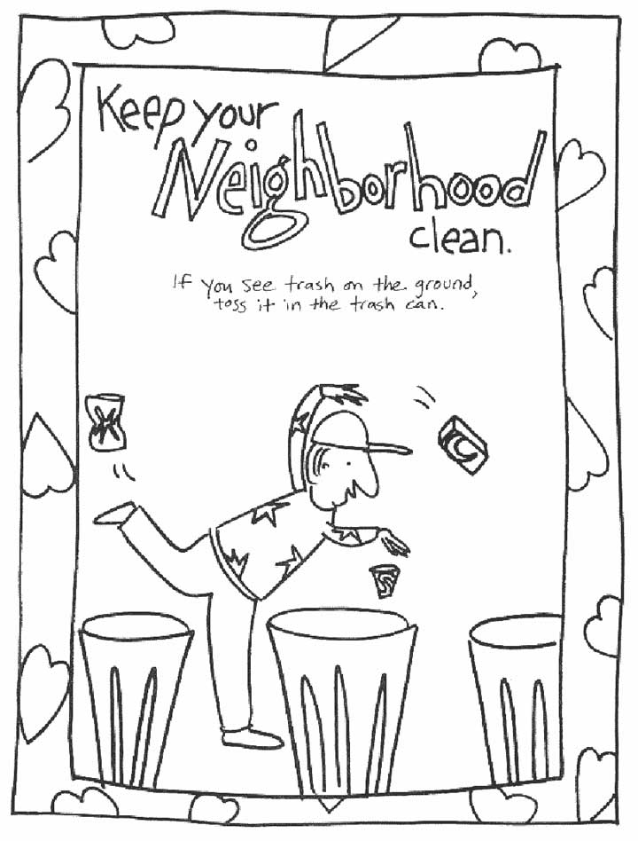Use the Trash Can - Coloring Page for Kids - Free Printable Picture