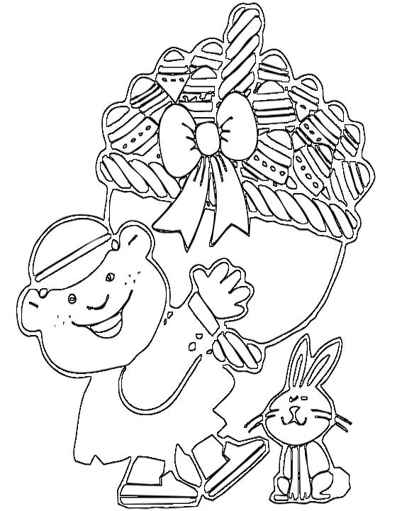 This Coloring Page Features A Happy Boy Carrying Large Basket Of Easter Eggs